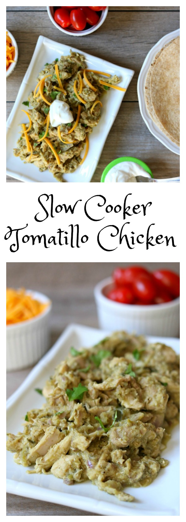 Slow Cooker Tomatillo Chicken Filling: tender, moist pieces of shredded chicken with an almost creamy (but healthy) sauce that is tomatillo based. This Slow Cooker Tomatillo Chicken Filling is perfect for tacos, enchiladas, burritos, salads or plain!