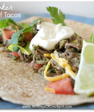 Recipe for Slow Cooker Tomatillo Beef Tacos