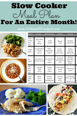 Kitchen Tip Tuesday:  Slow Cooker Meal Plan for an Entire Month!