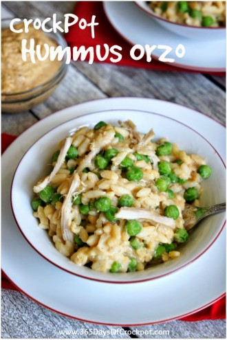 CrockPot Recipe for Hummus Orzo with Chicken and Peas (and how I feel about cleaning)