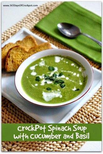 CrockPot Spinach Soup with Cucumber and Basil
