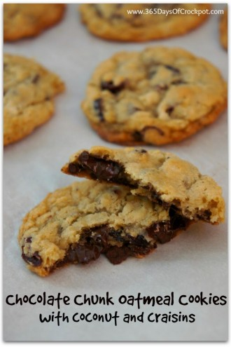 Oatmeal Dark Chocolate Chunk Cookies with Coconut and Craisins