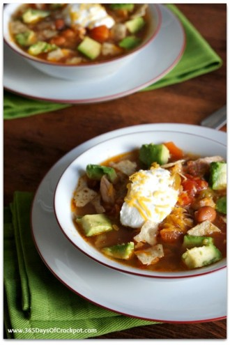 Slow Cooker Busy Day Chicken Taco Soup with Avocado