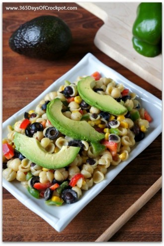 White Cheddar Pasta Shells with Corn, Peppers and Avocados
