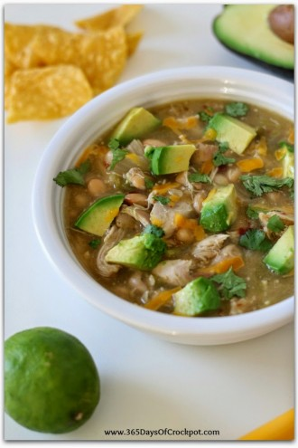 Slow Cooker Green Chicken Chili with Avocados