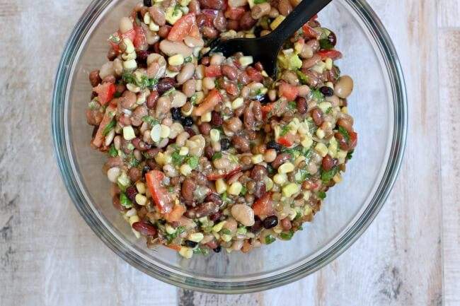 15 Bean Corn and Avocado Salsa made with dried beans