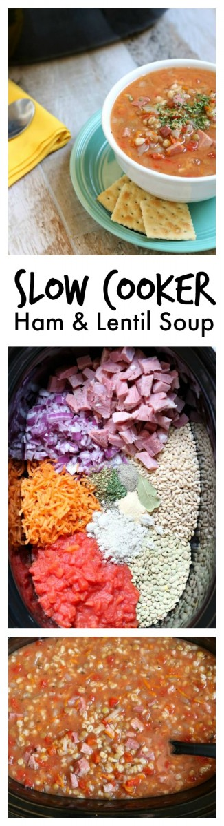 Super easy crockpot recipe for ham and lentil soup...throw everything in the crockpot and walk away