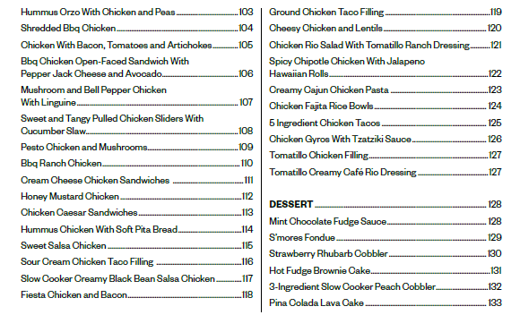 slow cooker summer ebook table of contents