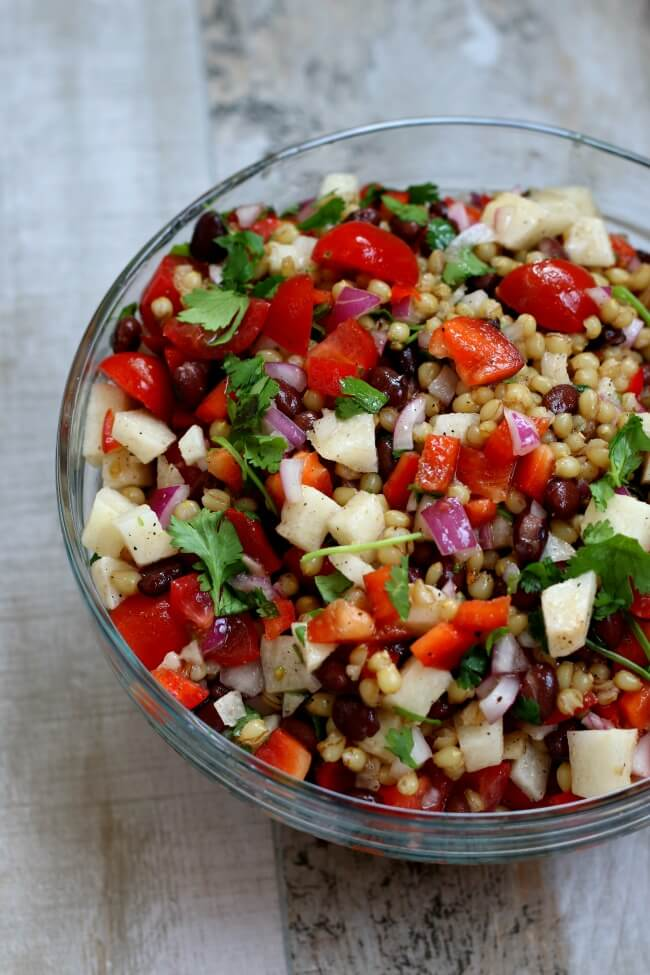 wheat berry salad with black beans, jicama and cilantro