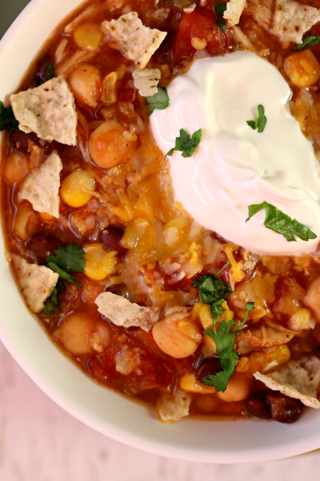 Slow Cooker Corn, Rice and Salsa Chicken Soup--a thick taco soup with tender, moist pieces of chicken, chewy brown rice, sweet corn, creamy chickpeas, spicy salsa and black beans.