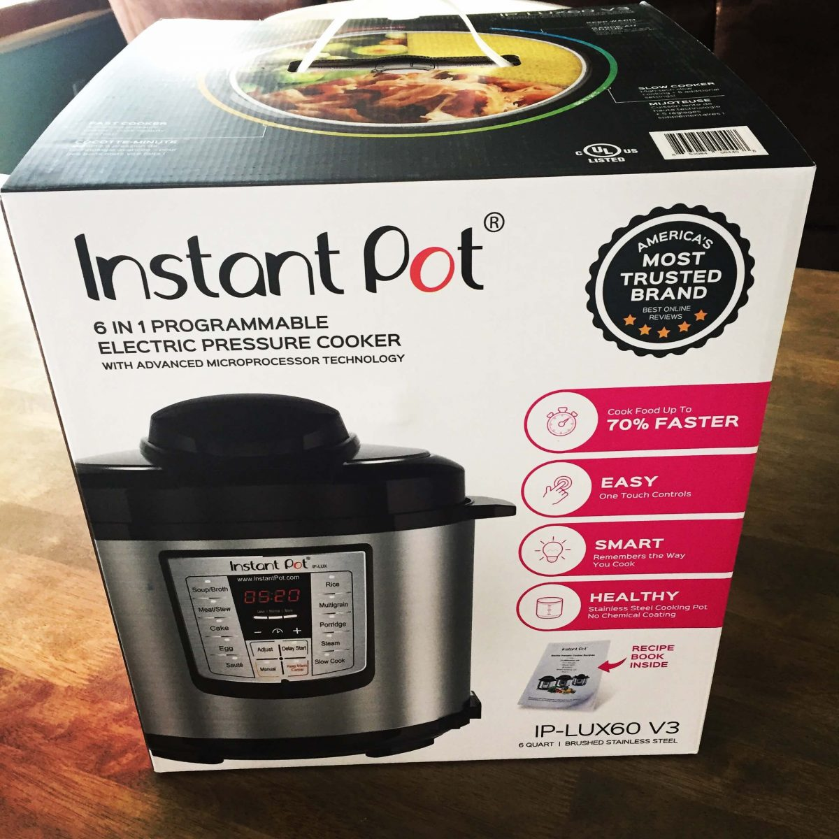 Instant Pot IP-LUX60 V3 Programmable Electric Pressure Cooker, 6Qt, 1000W (updated model)