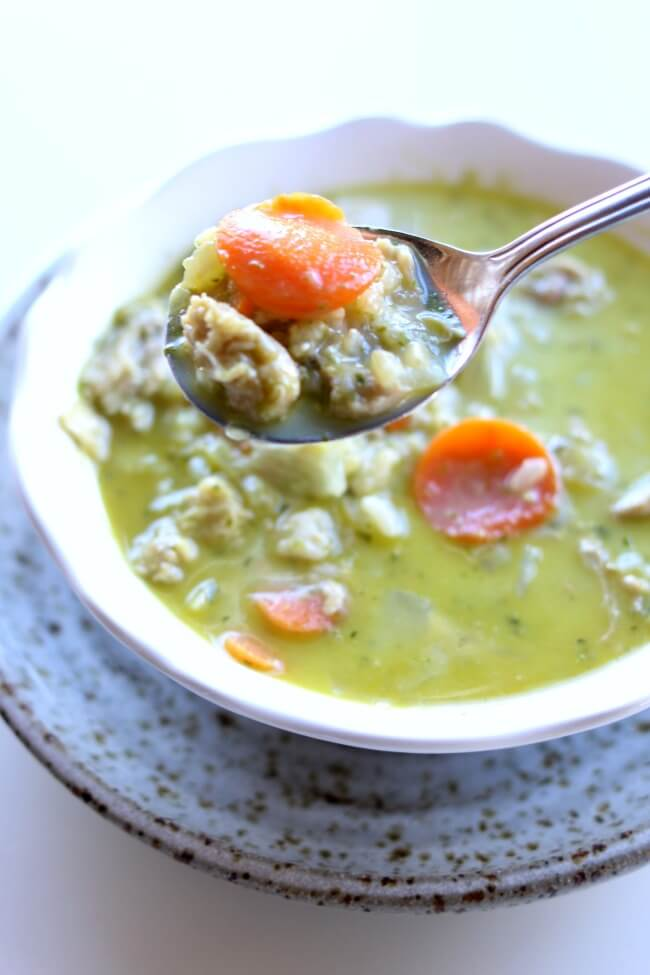 Instant Pot Pesto Chicken Rice Soup--a flavorful soup with tender bites of chicken, chewy brown rice and flavorful basil pesto made in minutes in your pressure cooker.