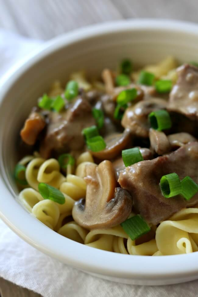 Instant Pot Beef Stroganoff--a super easy recipe for beef and mushrooms with a zippy sour cream sauce made quickly in the pressure cooker.