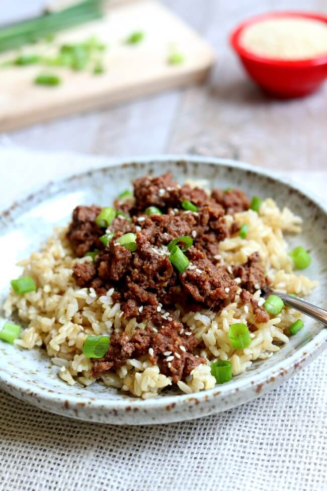 Slow Cooker or Instant Pot Cheater Korean Beef and Brown Rice–a quick version of a classic recipe made in your electric pressure cooker. The best part is that the beef and rice cook at the same time in the same Instant Pot.