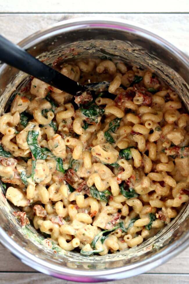Tuscan chicken pasta in the instant pot.