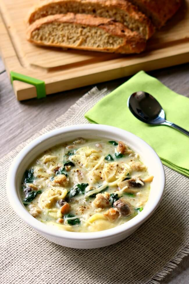 Slow Cooker Tortellini Soup with Parmesan, Chicken Sausage and Mushrooms needs to make its place on your menu this week. My husband said