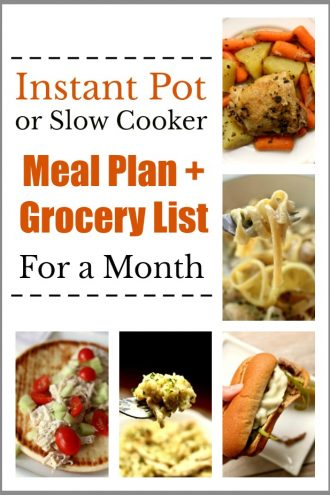 Instant Pot/Slow Cooker Meal Plan for a Month