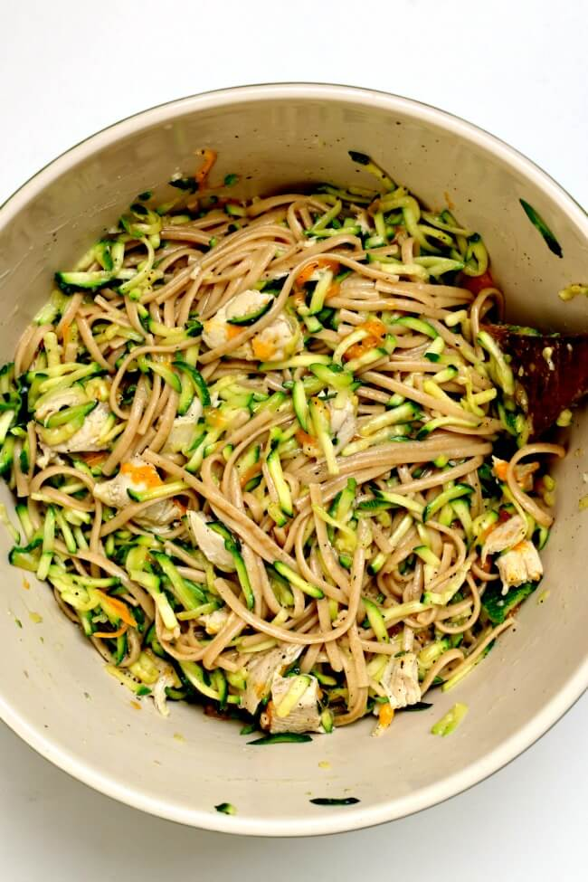 Instant Pot Zucchini Linguine--al dente pasta is stirred together with fresh zucchini, tender chicken bites, yogurt, garlic and cheddar. A simple summer recipe that is so delicious and can be made quickly in your electric pressure cooker.