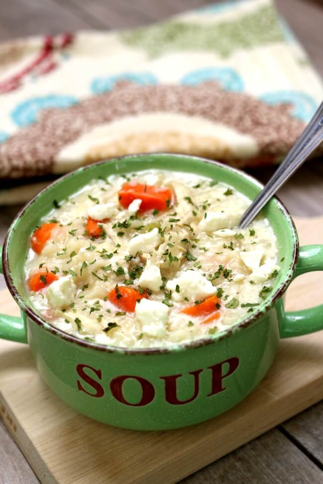 Instant Pot Greek Chicken Lemon Rice Soup--this is a heartier version of creamy Greek avgolemono soup. It has tender bites of chicken, rice, carrots and of course fresh lemon juice. This soup has unbelievableflavor! And it's made quickly in your electric pressure cooker.