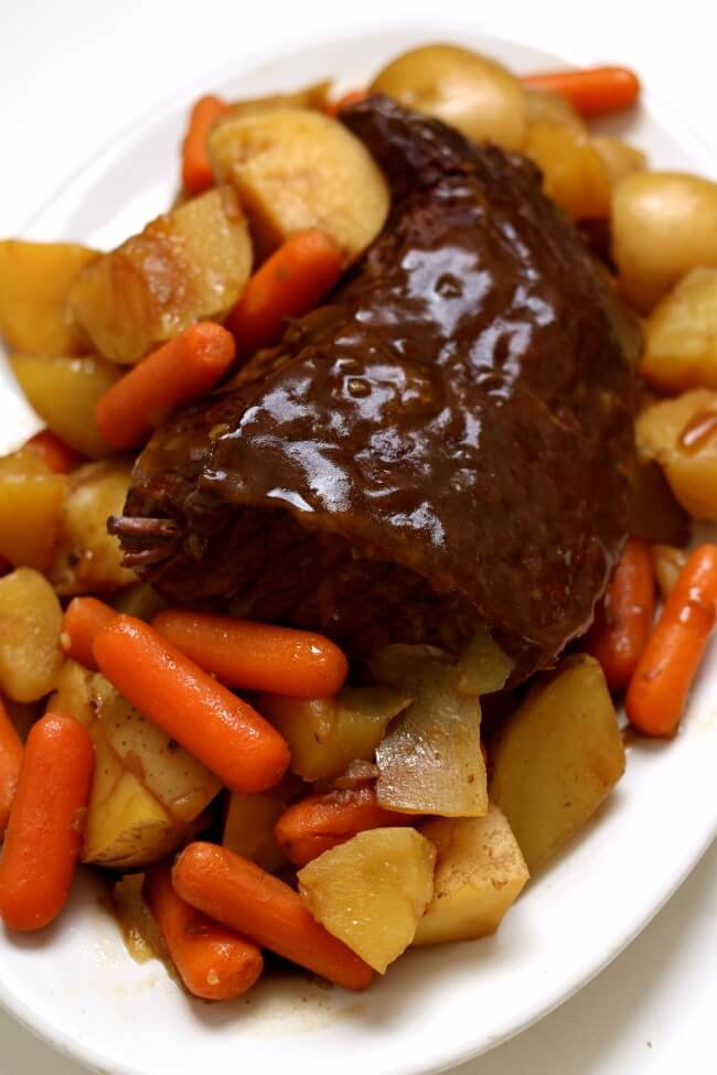 Instant Pot 3-Ingredient Rump Roast--an easy beginner recipe for the Instant Pot. Beef pot roast is cooked until tender in the electric pressure cooker. If desired you can also make carrots and potatoes with the roast.
