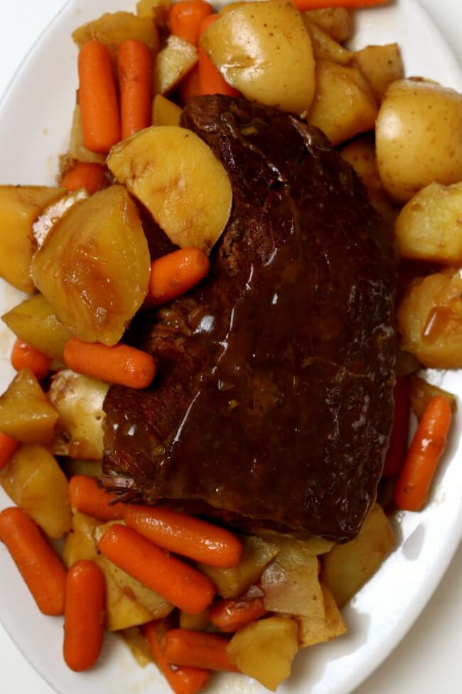 Slow Cooker 3-Ingredient Rump Roast--an easy beginner recipe for the slow cooker. Beef pot roast is cooked until tender in your crockpot. If desired you can also make carrots and potatoes with the roast.
