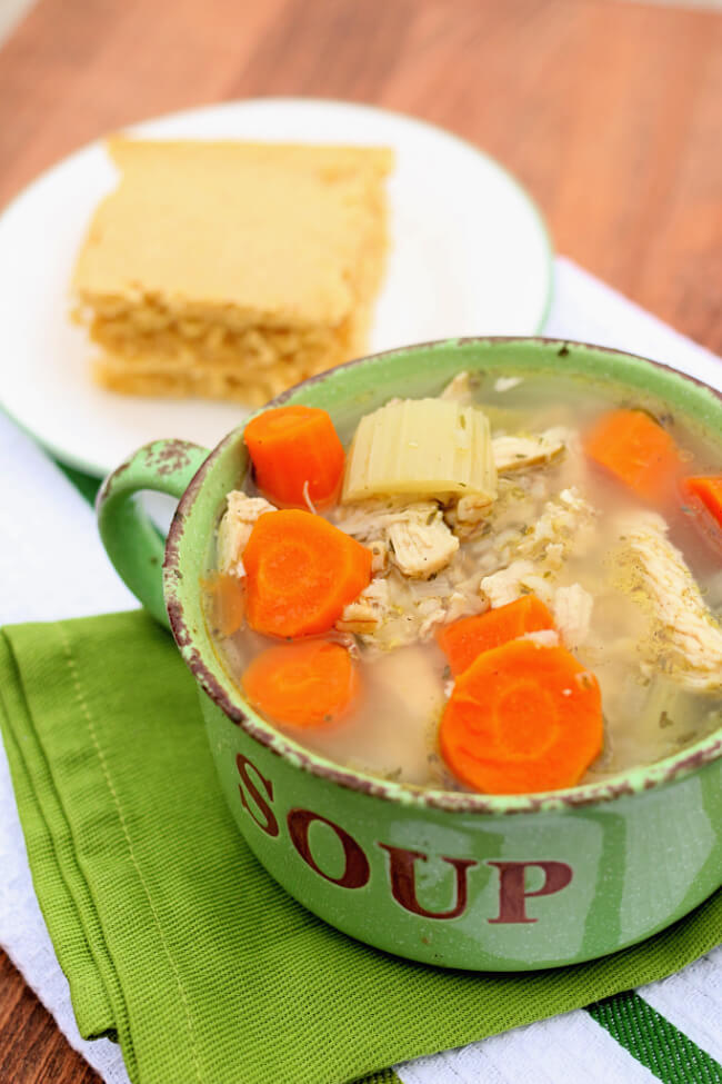 Instant Pot Chicken and Rice Soup--a broth based soup with chicken, celery, carrots and brown rice. This soup reminds me of chicken noodle soup except it has rice instead of noodles.