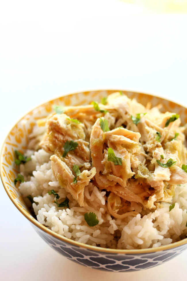 Instant Pot Salsa Verde Chicken is the perfect recipe to have in your back pocket on those days when you don't have the time or energy to cook. With just 2 ingredients this recipe is quick and easy. It tastes great and can be served in many ways including over rice, in tacos, burritos or quesadillas or on top of salad.