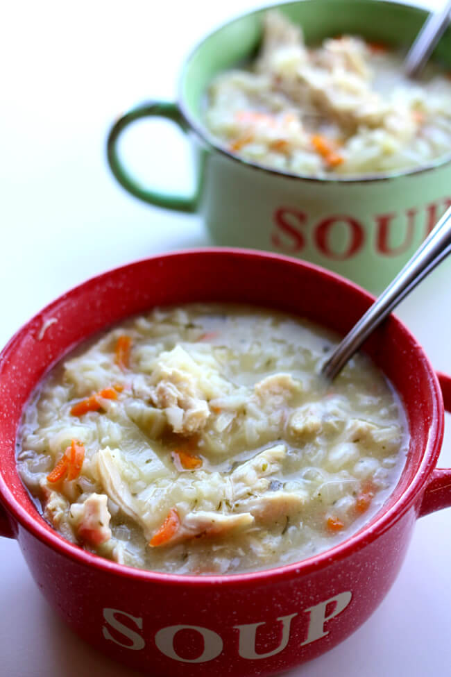 Slow Cooker Lemon Orzo Soup--A delicious soup with bites of chicken, orzo pasta and a bright lemon flavor.