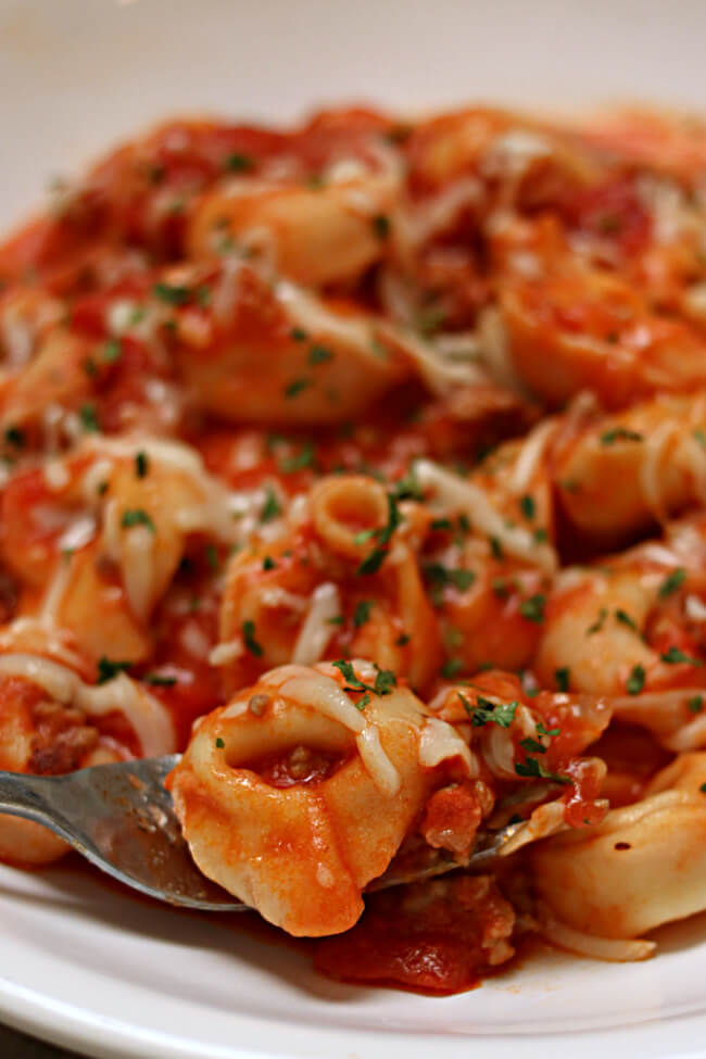 Instant Pot Italian Sausage Tortellini in Creamy Tomato Sauce is a super easy recipe that can be make with just 5-ingredients and a few minutes of hands-on time.
