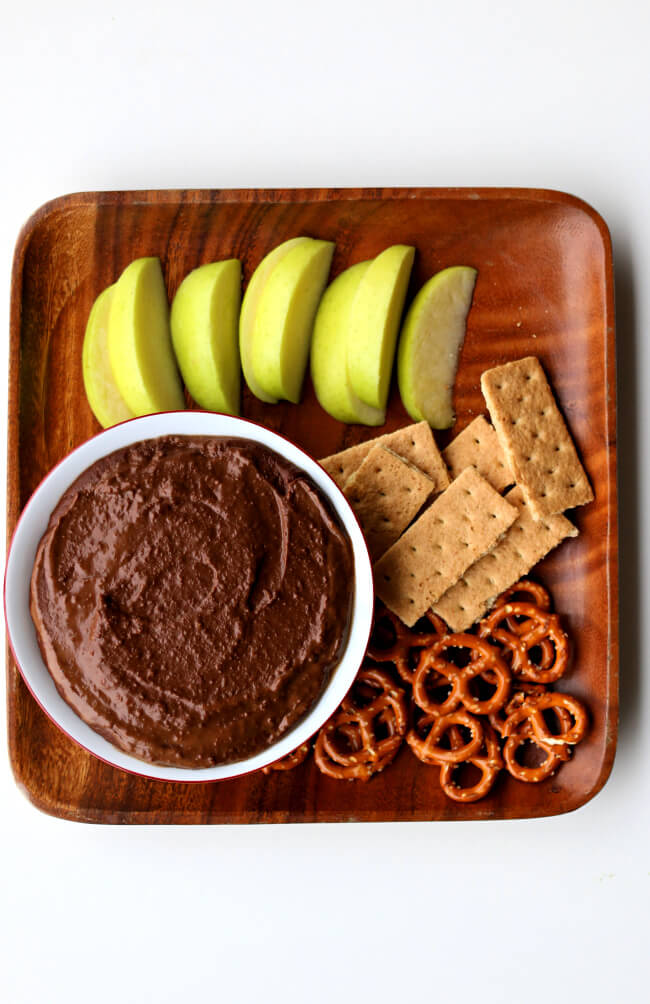 Instant Pot Chocolate Peanut Butter Hummus--make a chocolate dip that's a little healthier using chickpeas! This is great as a dip for fruit and pretzels. Dried chickpeas can be cooked very quickly in the Instant Pot.