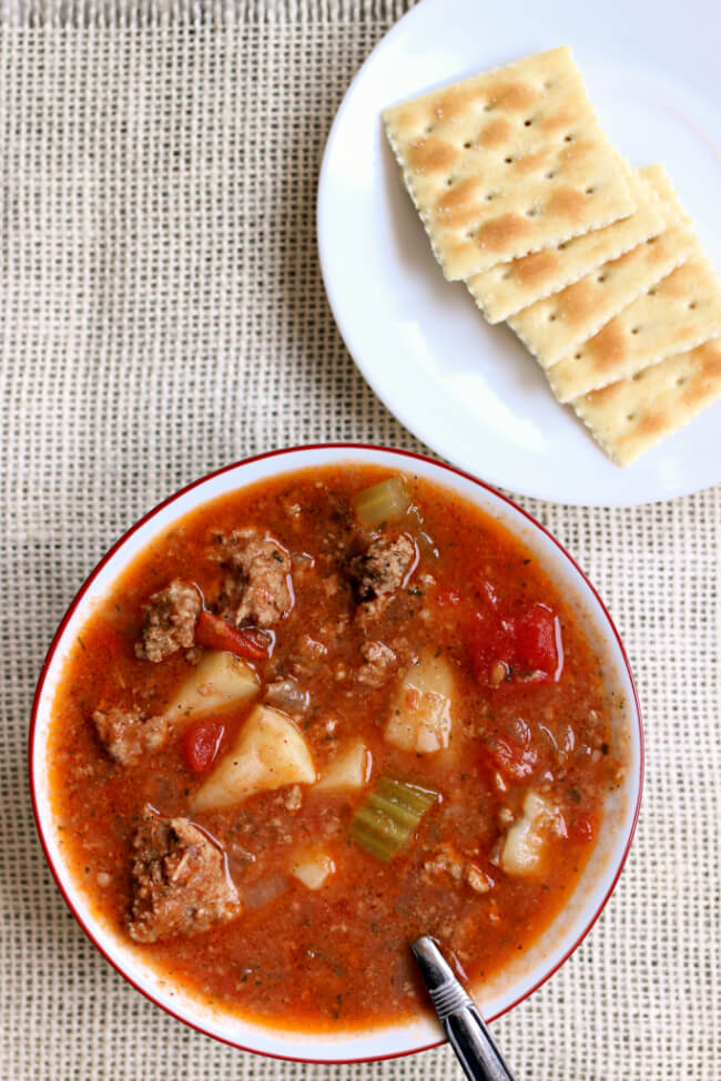 Instant Pot Vegetable Beef Soup--an easy, healthy and delicious soup with ground beef (or turkey) and vegetables. A perfect soup to make on a winter day. The leftovers are a great lunch the next day too!
