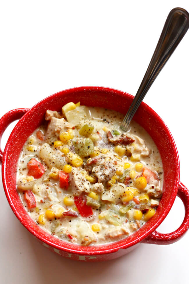 Instant Pot Chicken Bacon Chowder--this chowder is definitely a party in your mouth. With corn, chicken, bacon, cream cheese, potatoes, carrots, red bell pepper and more it's chock full of tastiness. You're going to be saying