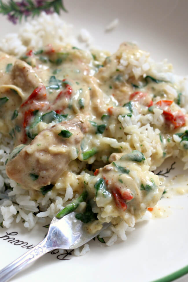 Slow Cooker Creamy Tuscan Chicken--creamy chicken and sauce with sun-dried tomatoes, spinach, Parmesan cheese and garlic.