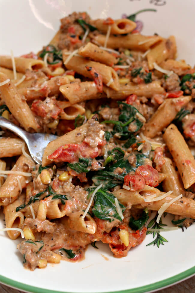 Instant Pot Creamy Beef and Penne--ground beef, garlic, penne pasta,  fire roasted tomatoes, cream cheese, spinach and pine nuts cooked quickly and in one pot, your Instant Pot.  An amazing pasta dish that your whole family will love!