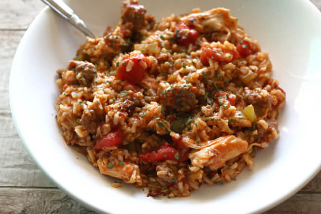 Instant Pot Chicken and Sausage Jambalaya--a fast, easy, healthier, non-spicy version of jambalaya. It has so much flavor, you're going to love it!