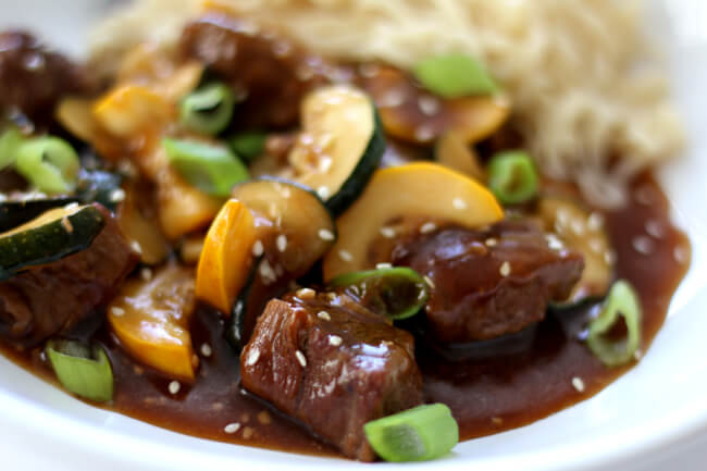 Instant Pot Sesame Beef with Zucchini--tender chunks of beef with bites of zucchini in an easy stir fry sauce.