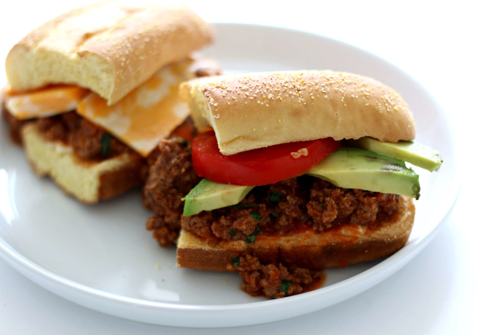 Instant Pot Southwest Tavern Sandwich--a loose meat sandwich seasoned with southwest flavors and then topped with cheese, avocado and tomato. A perfect dinner or lunch to feed a crowd.