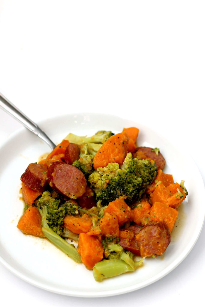 Instant Pot Sausage, Sweet Potatoes and Broccoli--a flavorful, healthy-ish and easy dump and go meal. This will quickly become a family favorite!