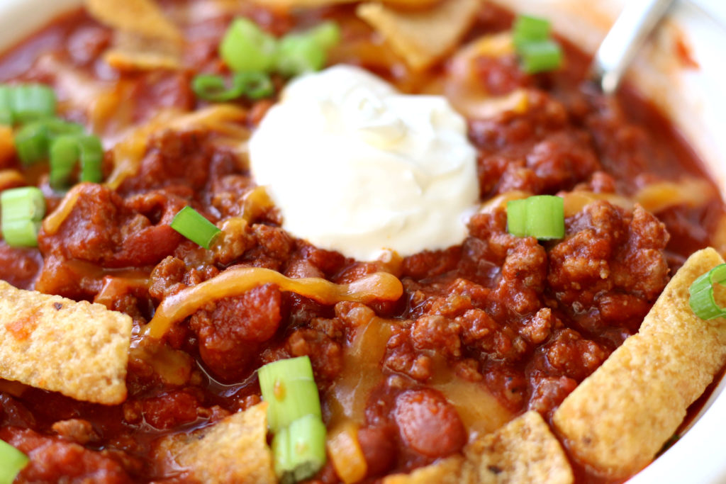 Down Home Instant Pot Chili--a fast and easy chili recipe that has lots of flavor but isn't too spicy! Perfect for any night of the week or for the chili cook-off contest.