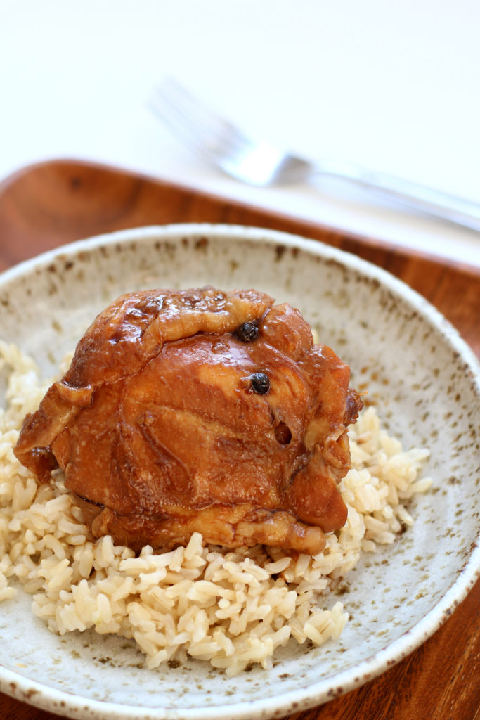 brown chicken on a plate with rice