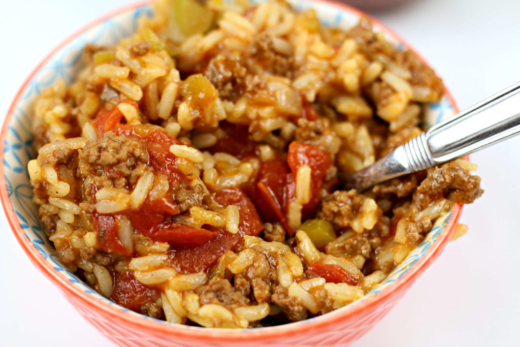 2 bowls with instant pot spanish rice with beef inside