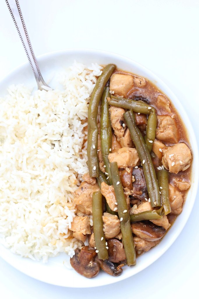 rice and chicken with green beans and mushrooms