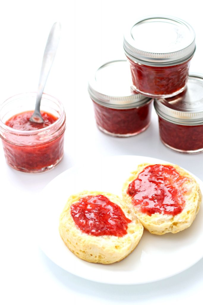 strawberry jam on a biscuit