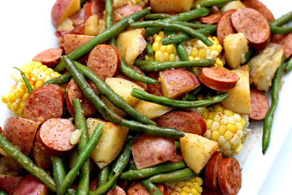 red potatoes, corn and green beans