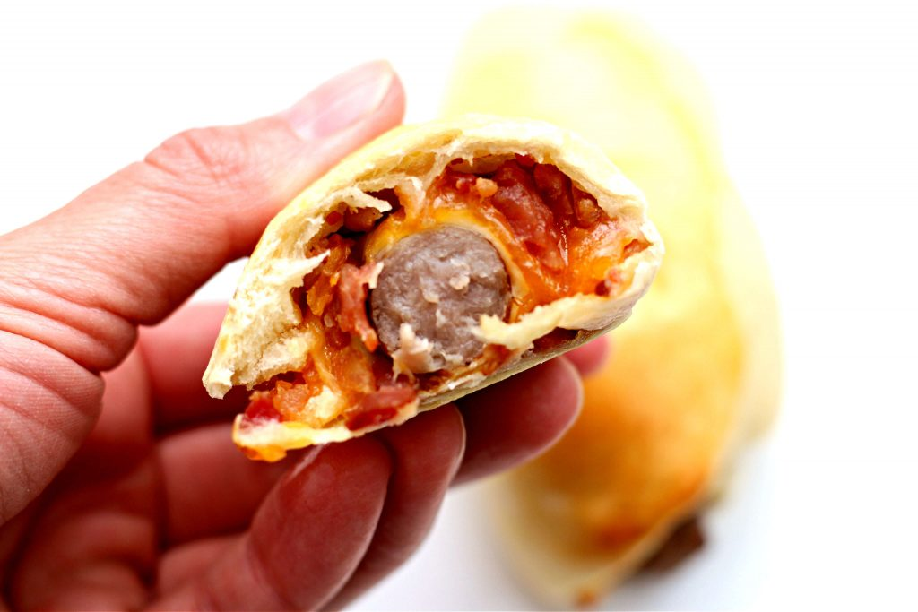 sausage wrapped in baked dough
