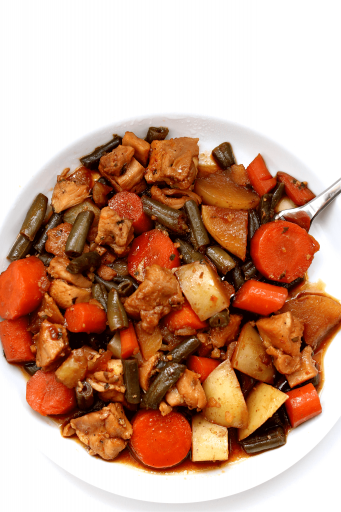 Instant Pot Honey Garlic Chicken and Vegetables on white plate