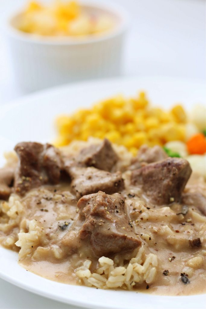 beef and gravy over rice
