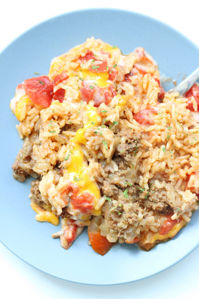 Instant Pot Cheesy Beef and Rice Casserole