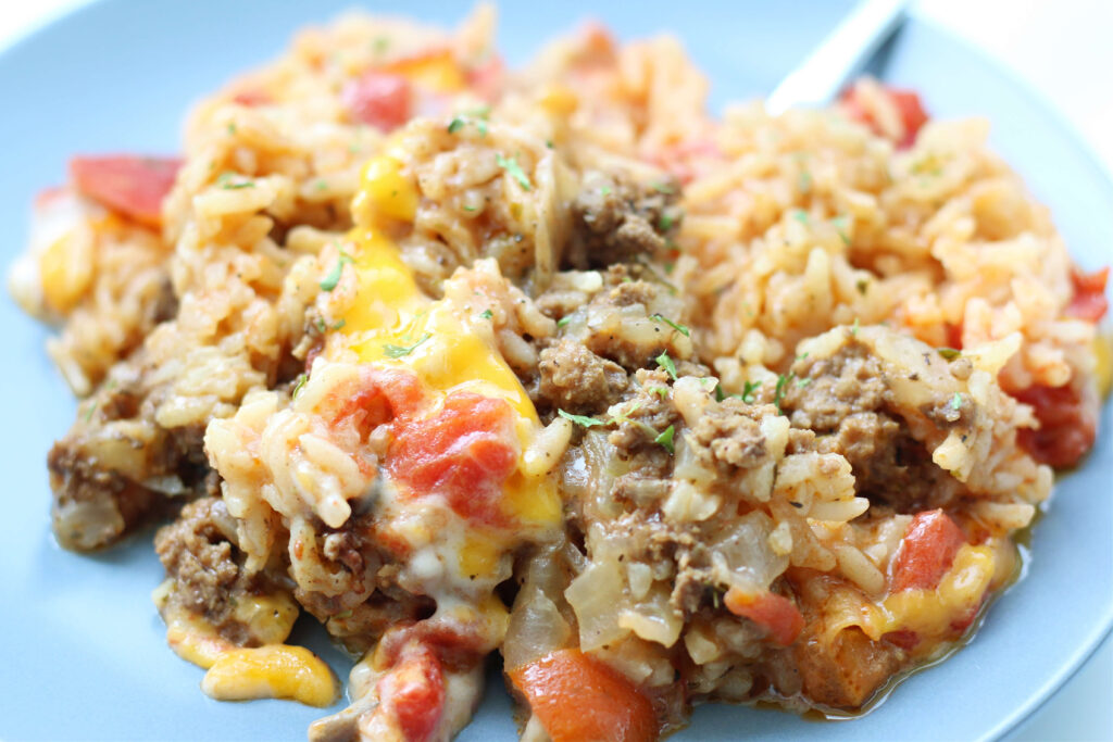 cheesy beef and rice casserole